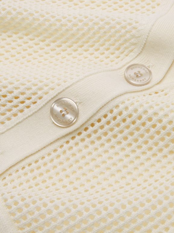Open Knit Cotton V-neck Cardigan in Ivory | Burberry - cell image 1