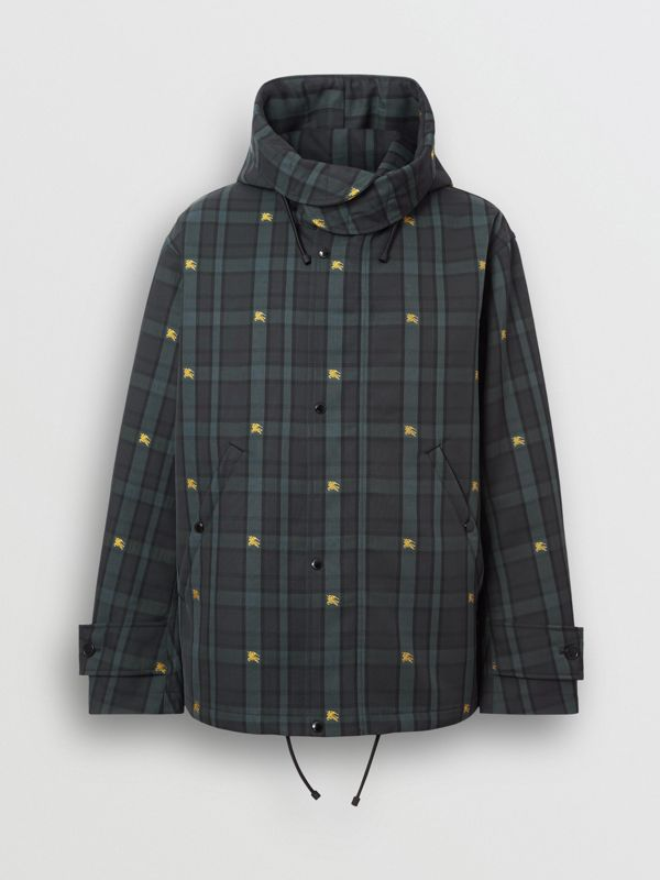 Equestrian Knight Check Nylon Hooded Jacket in Dark Cyan - Men | Burberry - cell image 3