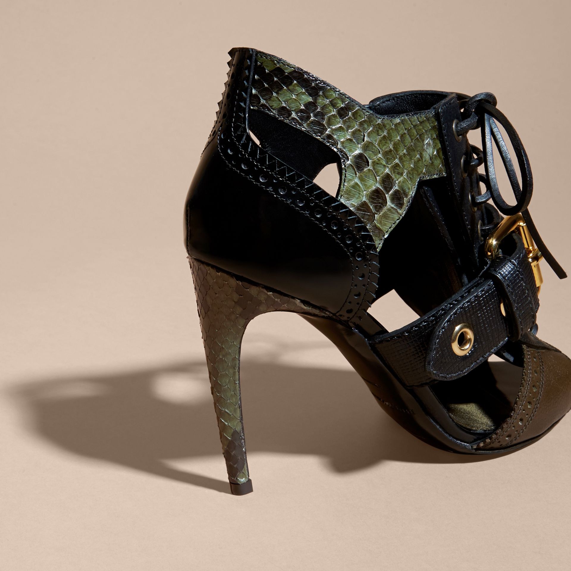 Buckle Detail Leather and Snakeskin Cut-out Ankle Boots in Military Olive - gallery image 4