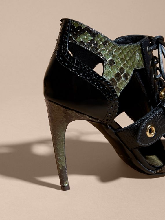 Buckle Detail Leather and Snakeskin Cut-out Ankle Boots in Military Olive - cell image 3