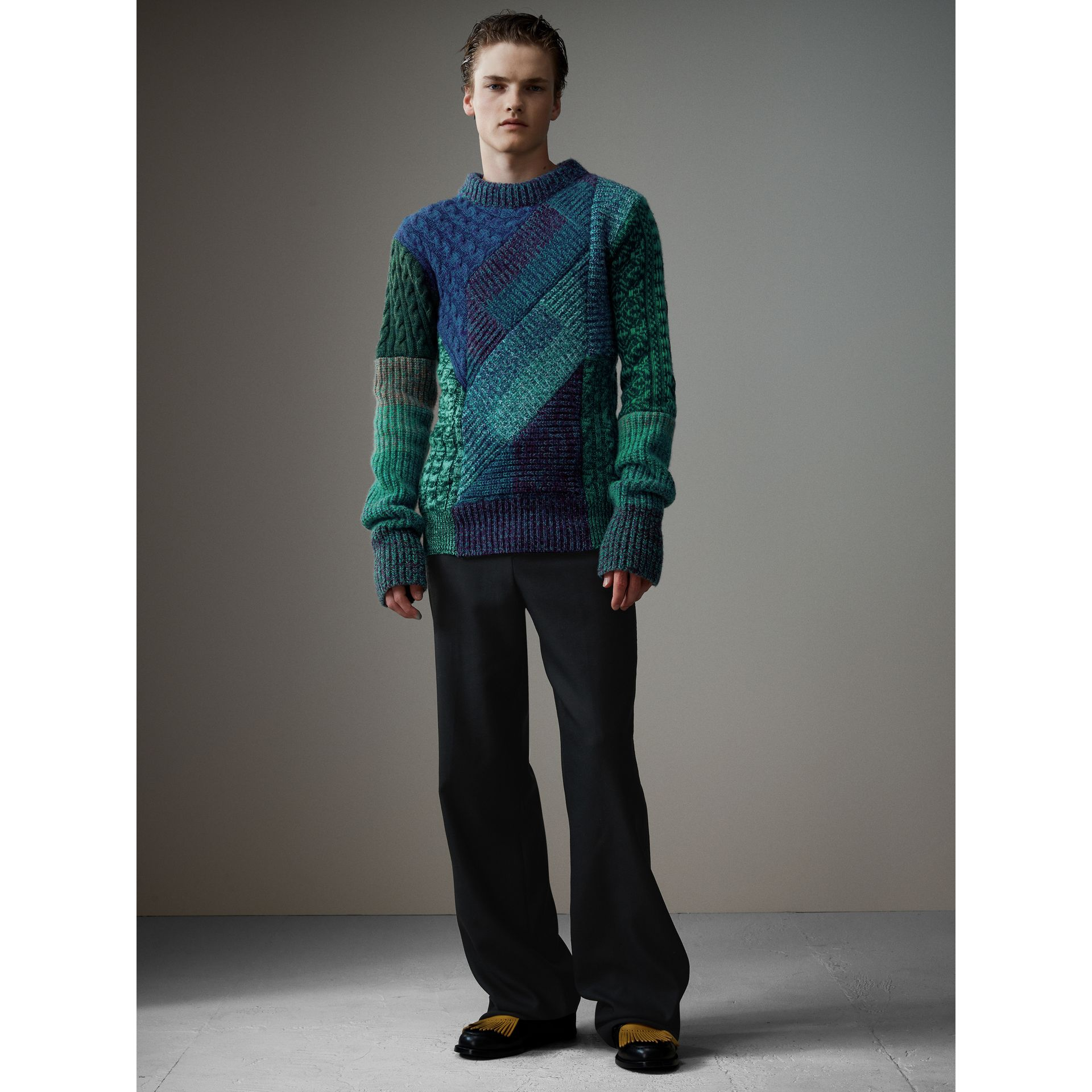 Cashmere Wool Mouliné Patchwork Sweater in Hydrangea Blue - Men | Burberry - gallery image 0
