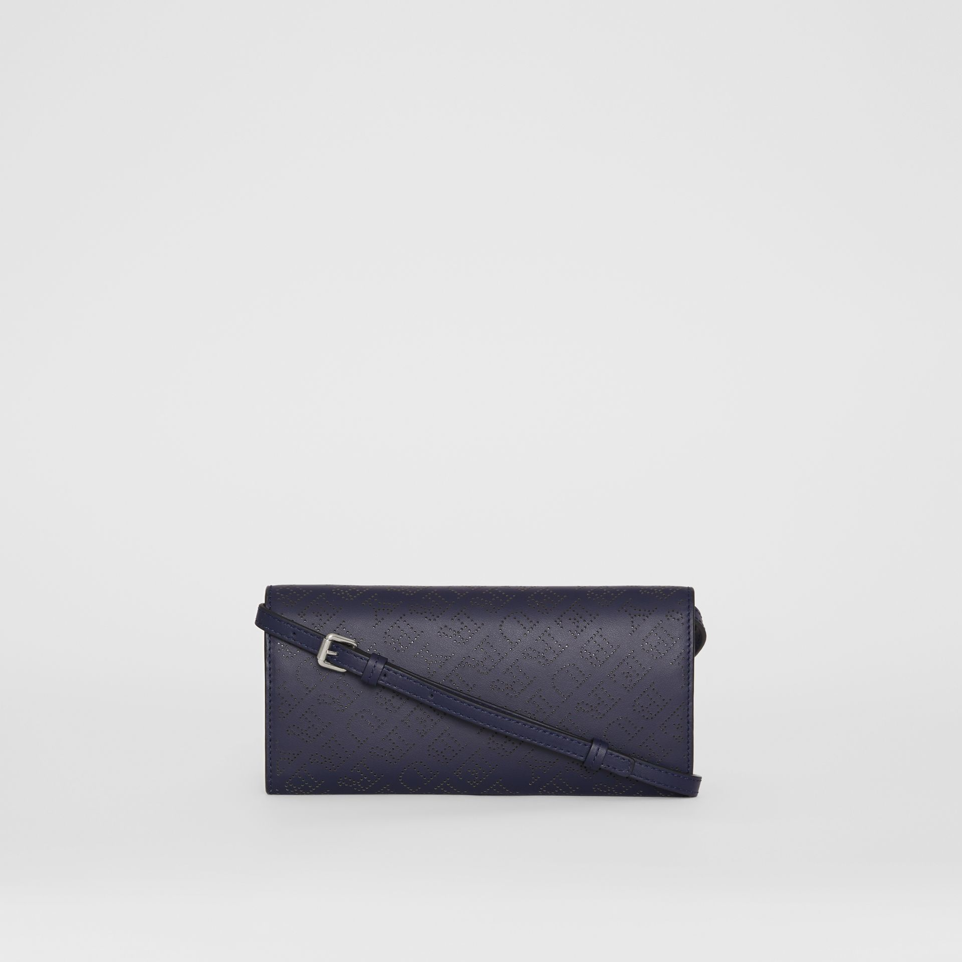Perforated Logo Leather Wallet with Detachable Strap in Navy - Women | Burberry United Kingdom - gallery image 7