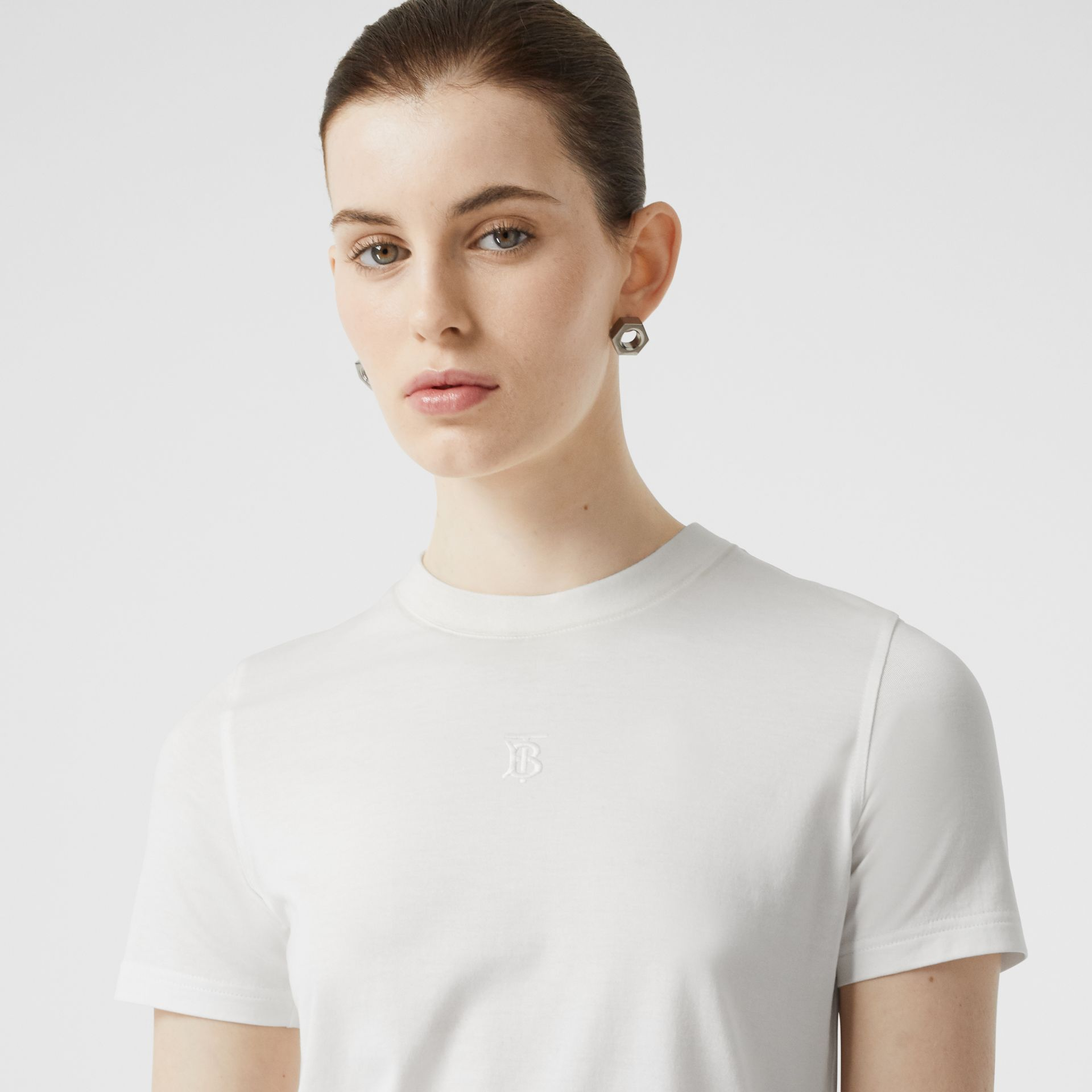 Monogram Motif Cotton T-shirt in White - Women | Burberry - gallery image 1