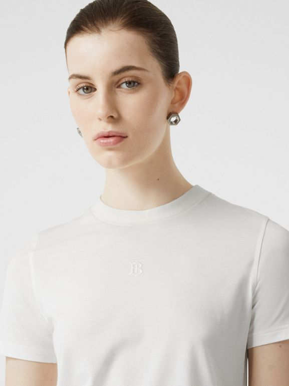 Monogram Motif Cotton T-shirt in White - Women | Burberry Australia - cell image 1