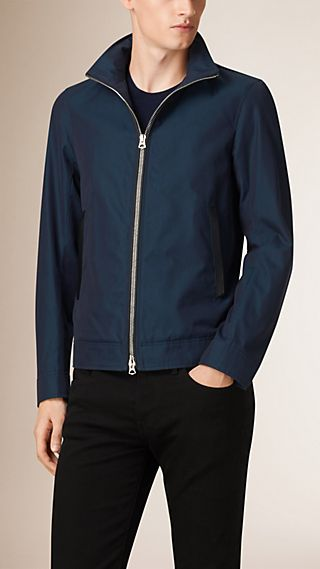 Cotton Gabardine Blouson With Packaway Hood