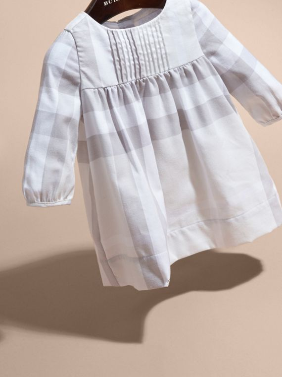 Pale grey Pintuck Detailed Washed Check Cotton Dress - cell image 2