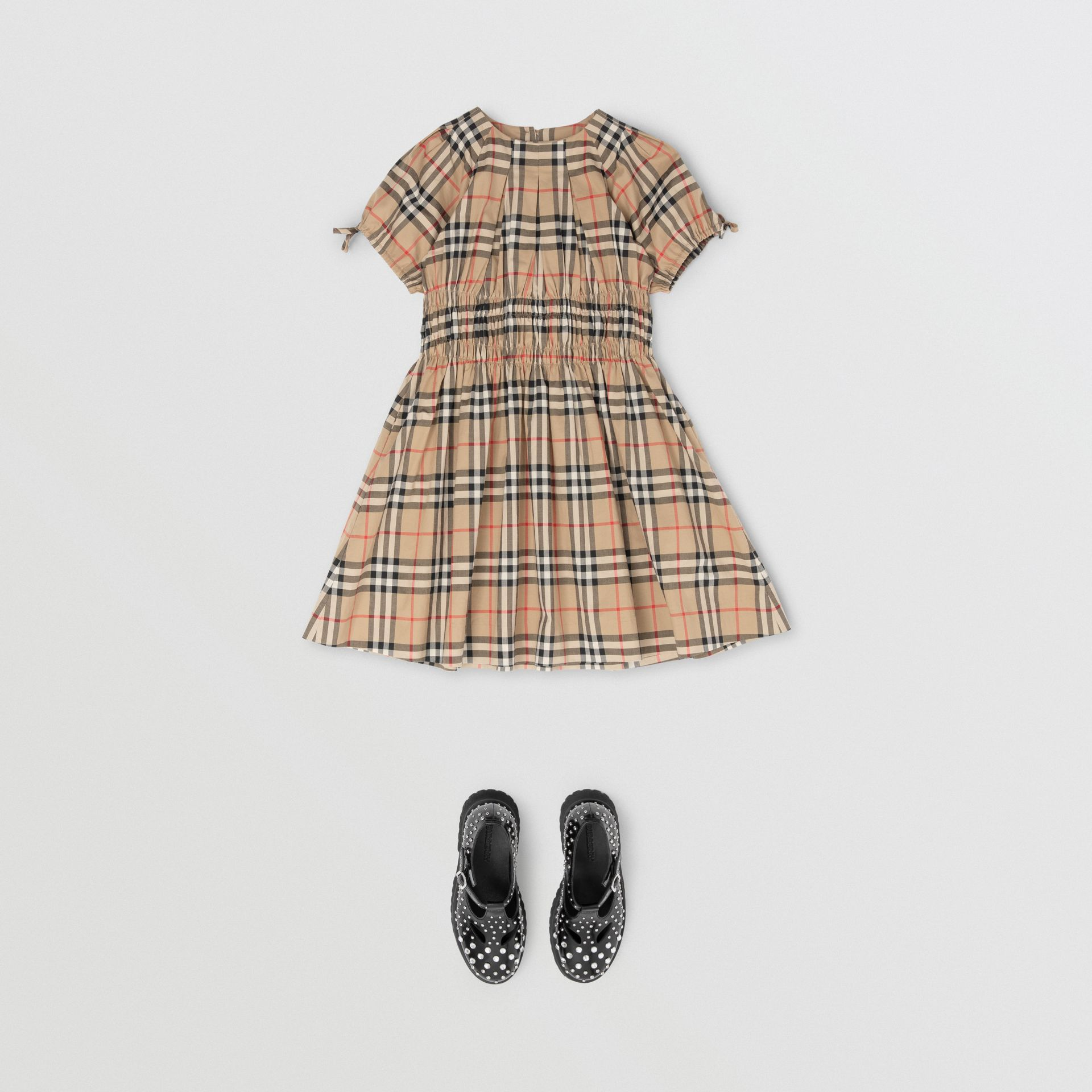 Ruched Panel Vintage Check Cotton Dress in Archive Beige | Burberry United States - gallery image 2