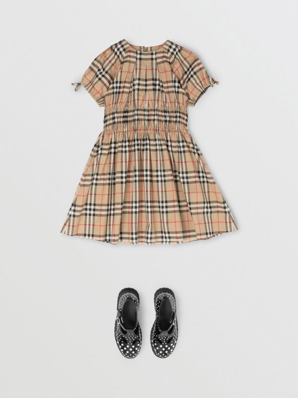 Ruched Panel Vintage Check Cotton Dress in Archive Beige | Burberry Singapore - cell image 2