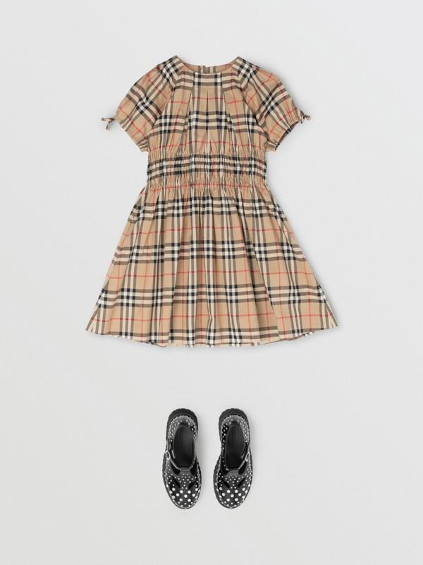 Vestido de algodão com estampa Vintage Check e recorte franzido (Bege Clássico) | Burberry - cell image 2