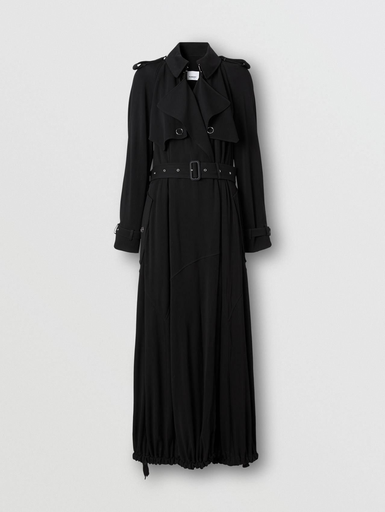 Press-stud Detail Jersey Trench Coat in Black