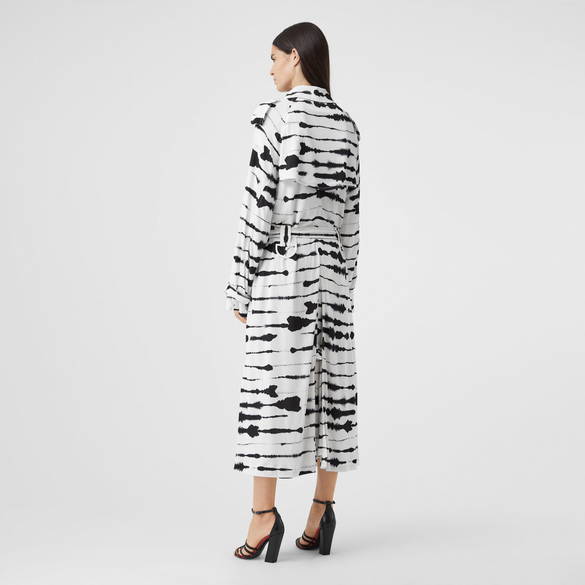 Watercolour Print Jersey Step-through Trench Coat in Monochrome - Women | Burberry Australia - gallery image 2