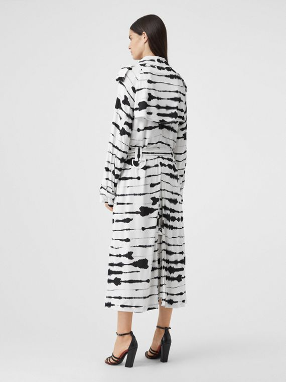 Watercolour Print Jersey Step-through Trench Coat in Monochrome