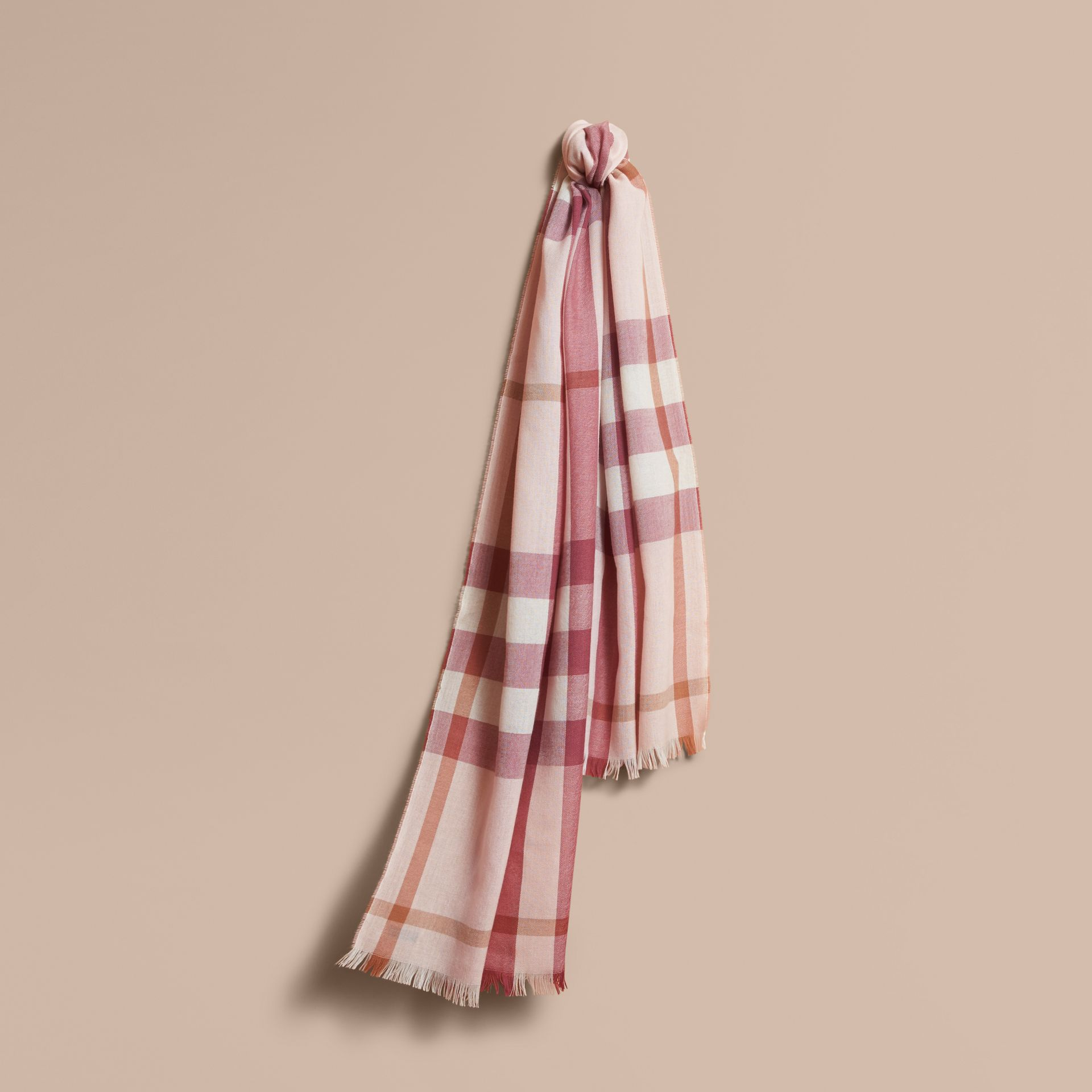 Lightweight Check Wool Cashmere Scarf in Chalk Pink | Burberry - gallery image 1