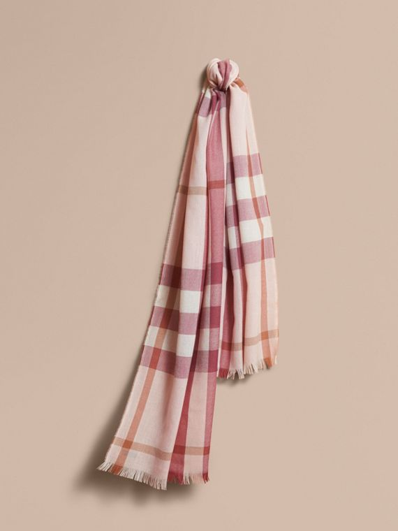 Lightweight Check Wool Cashmere Scarf in Chalk Pink
