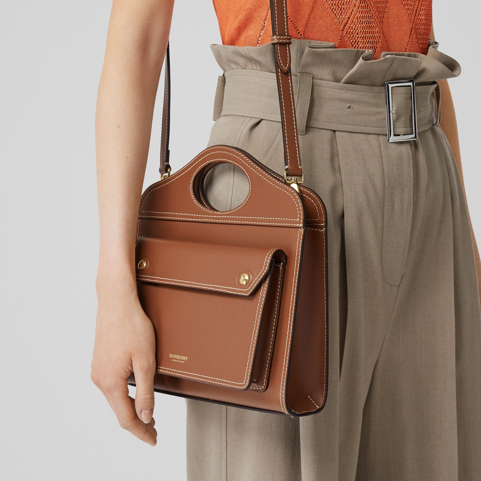 Mini Topstitch Detail Leather Pocket Bag in Malt Brown - Women | Burberry - gallery image 2