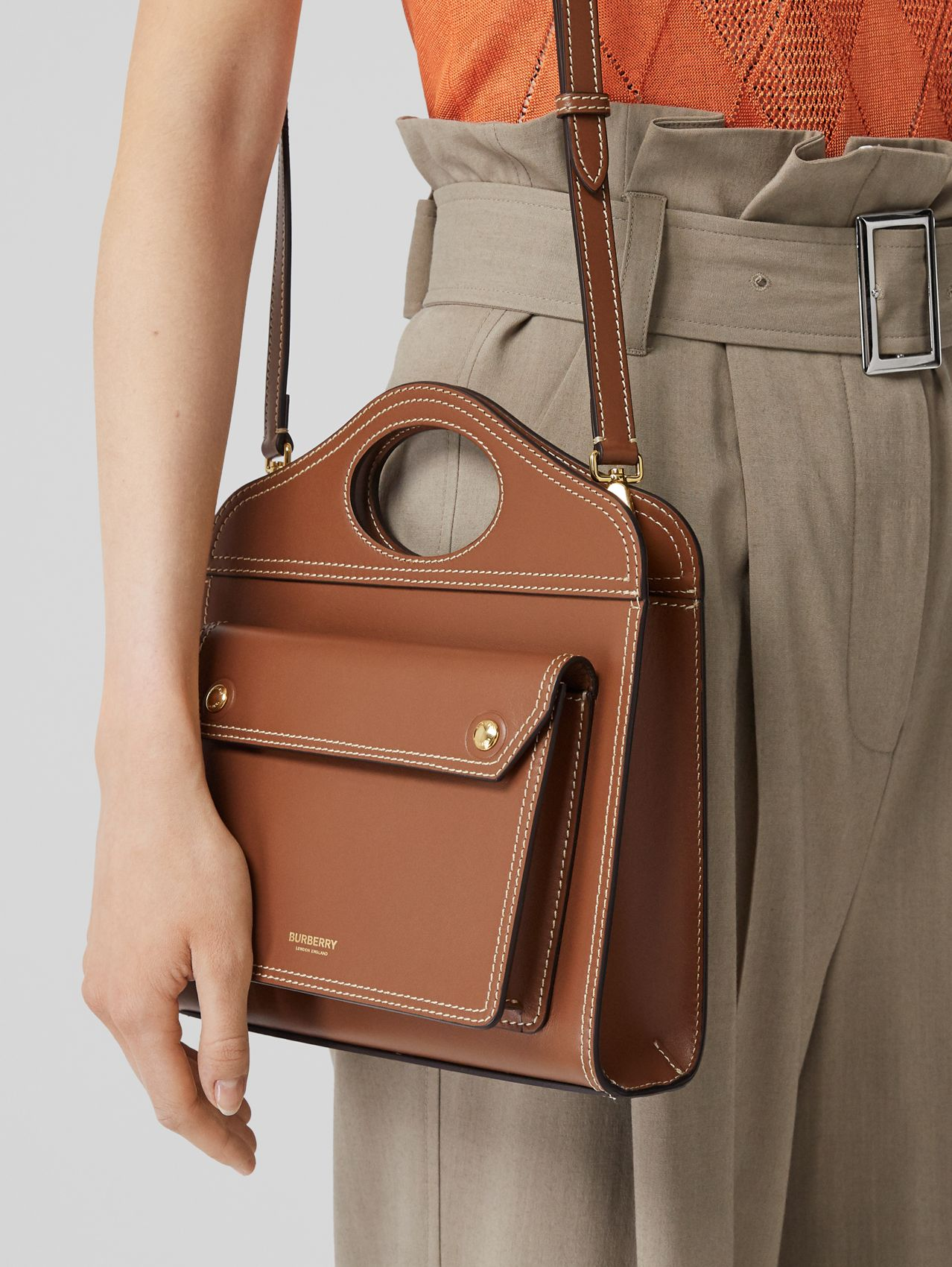 Mini Topstitch Detail Leather Pocket Bag (Malt Brown)