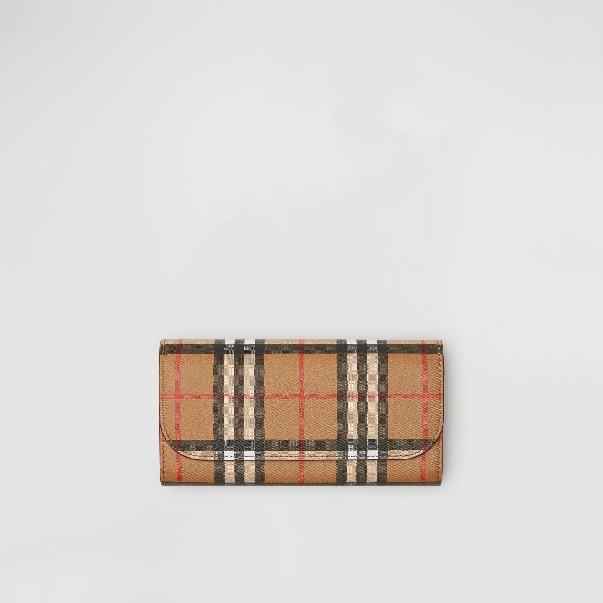 Vintage Check and Leather Continental Wallet in Crimson - Women | Burberry - gallery image 0