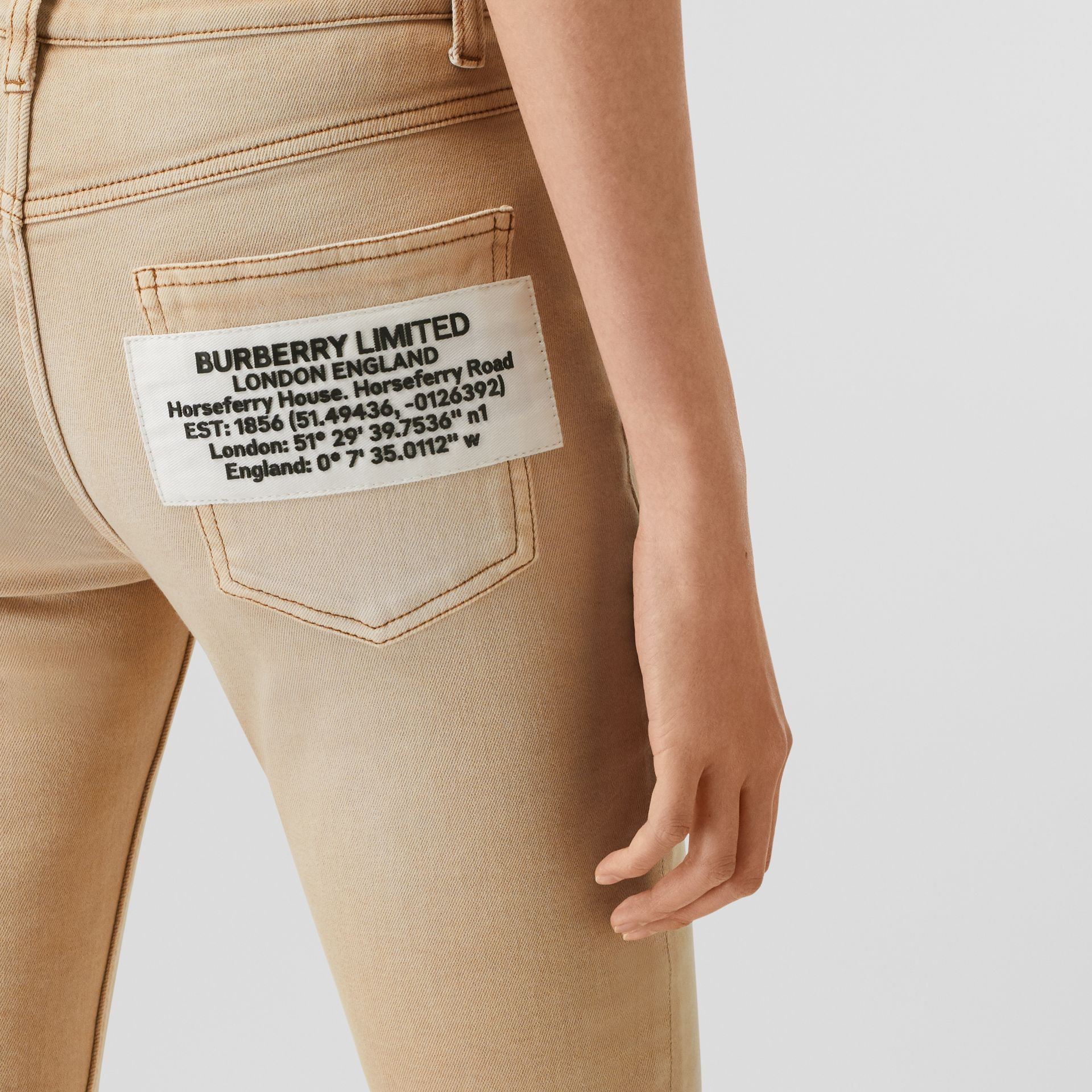 Skinny Fit Washed Japanese Denim Jeans in Honey - Women | Burberry United Kingdom - gallery image 1