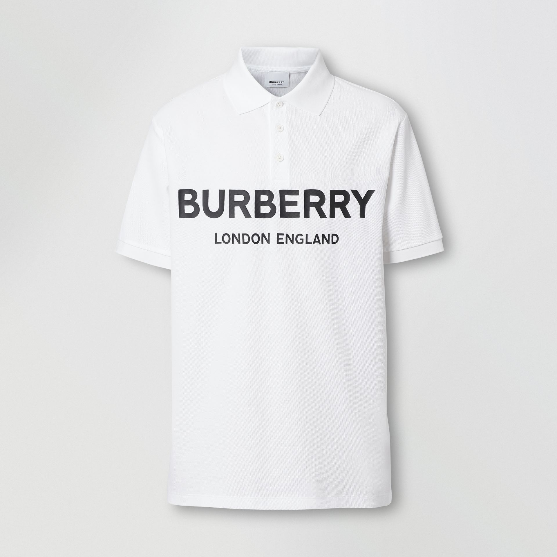 Logo Print Cotton Piqué Polo Shirt in White - Men | Burberry - gallery image 3