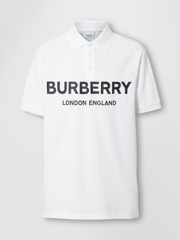 Logo Print Cotton Piqué Polo Shirt in White - Men | Burberry - cell image 3
