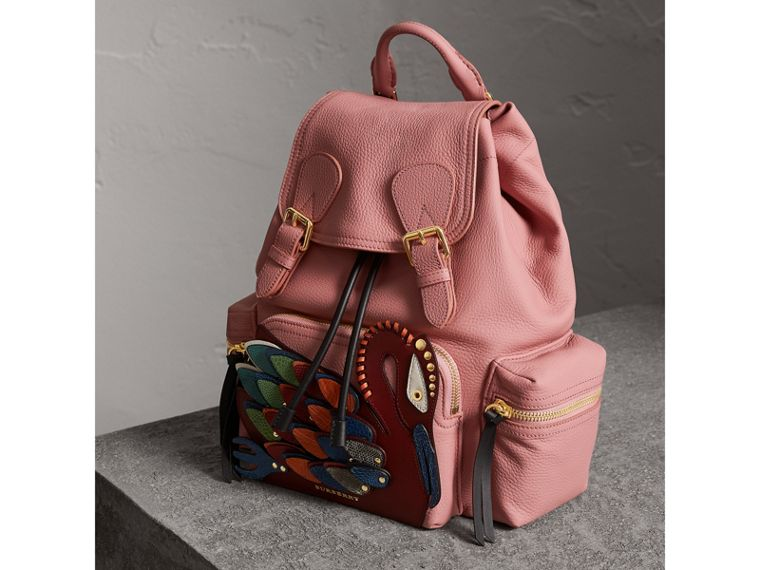 The Medium Rucksack in Deerskin with Beasts Motif in Blossom Pink - Women | Burberry - cell image 4