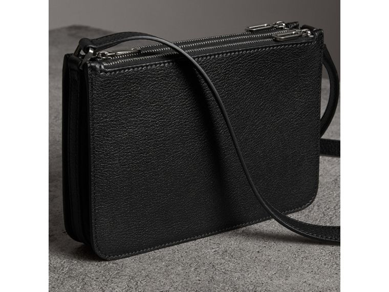 Triple Zip Grainy Leather Crossbody Bag in Black/silver - Women | Burberry - cell image 4