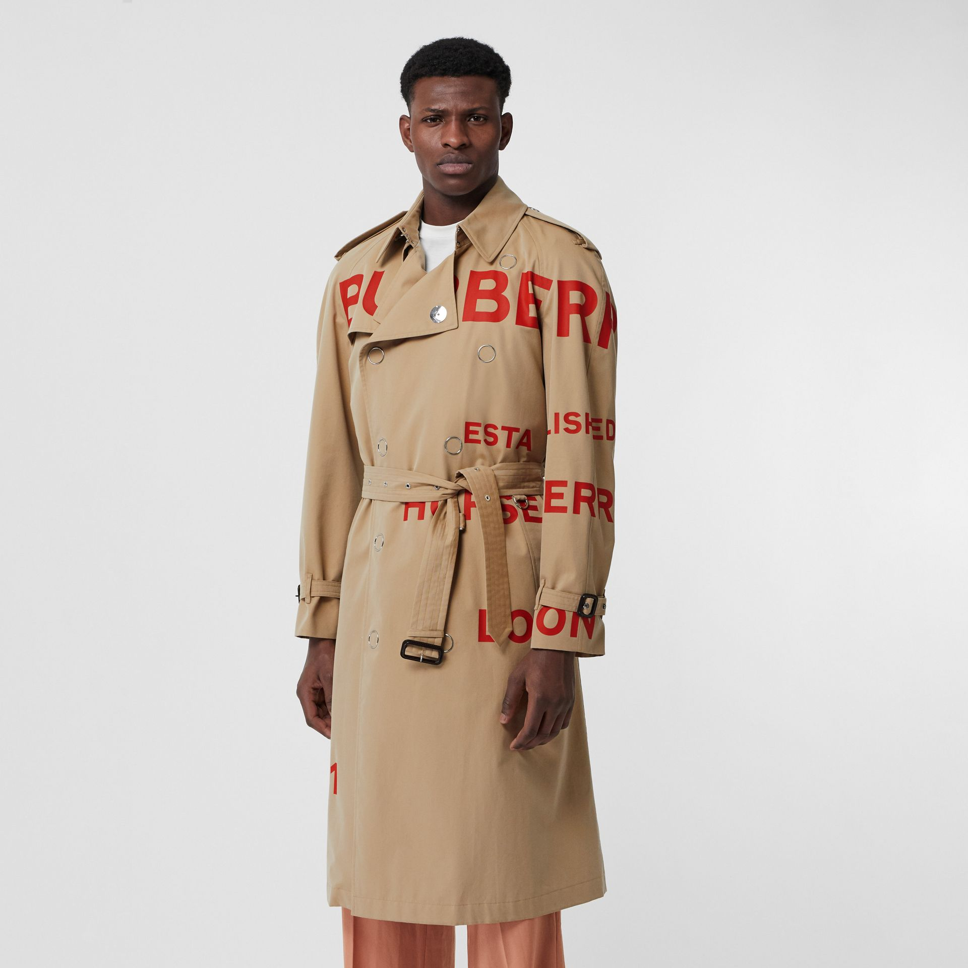 Horseferry Print Cotton Gabardine Trench Coat in Honey | Burberry United Kingdom - gallery image 6