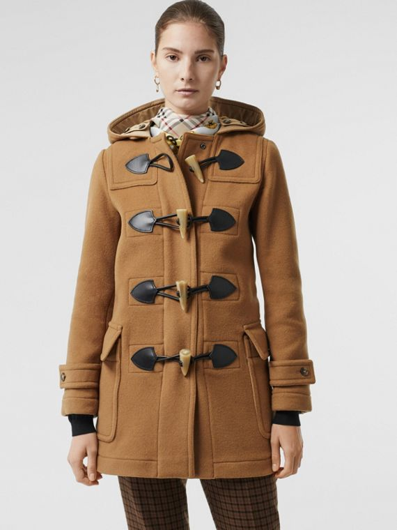 Wool Blend Duffle Coat in Camel