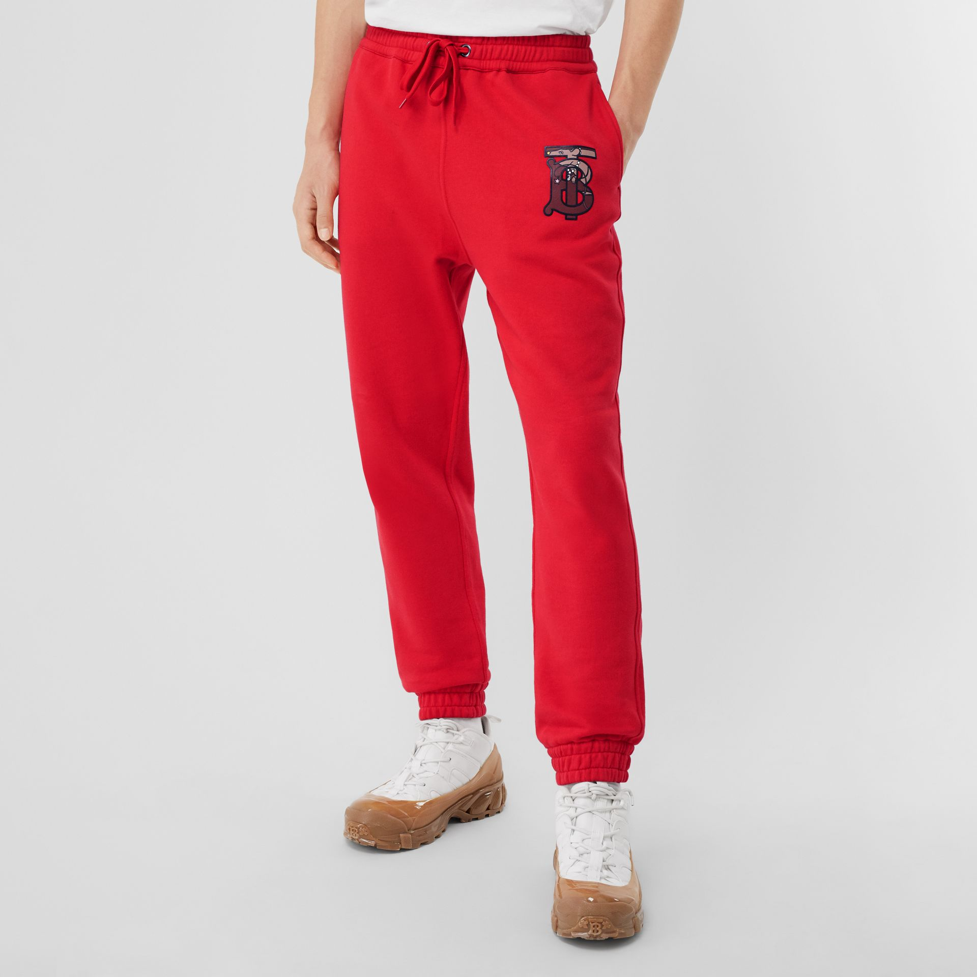 Monogram Motif Cotton Trackpants in Bright Red - Men | Burberry - gallery image 3