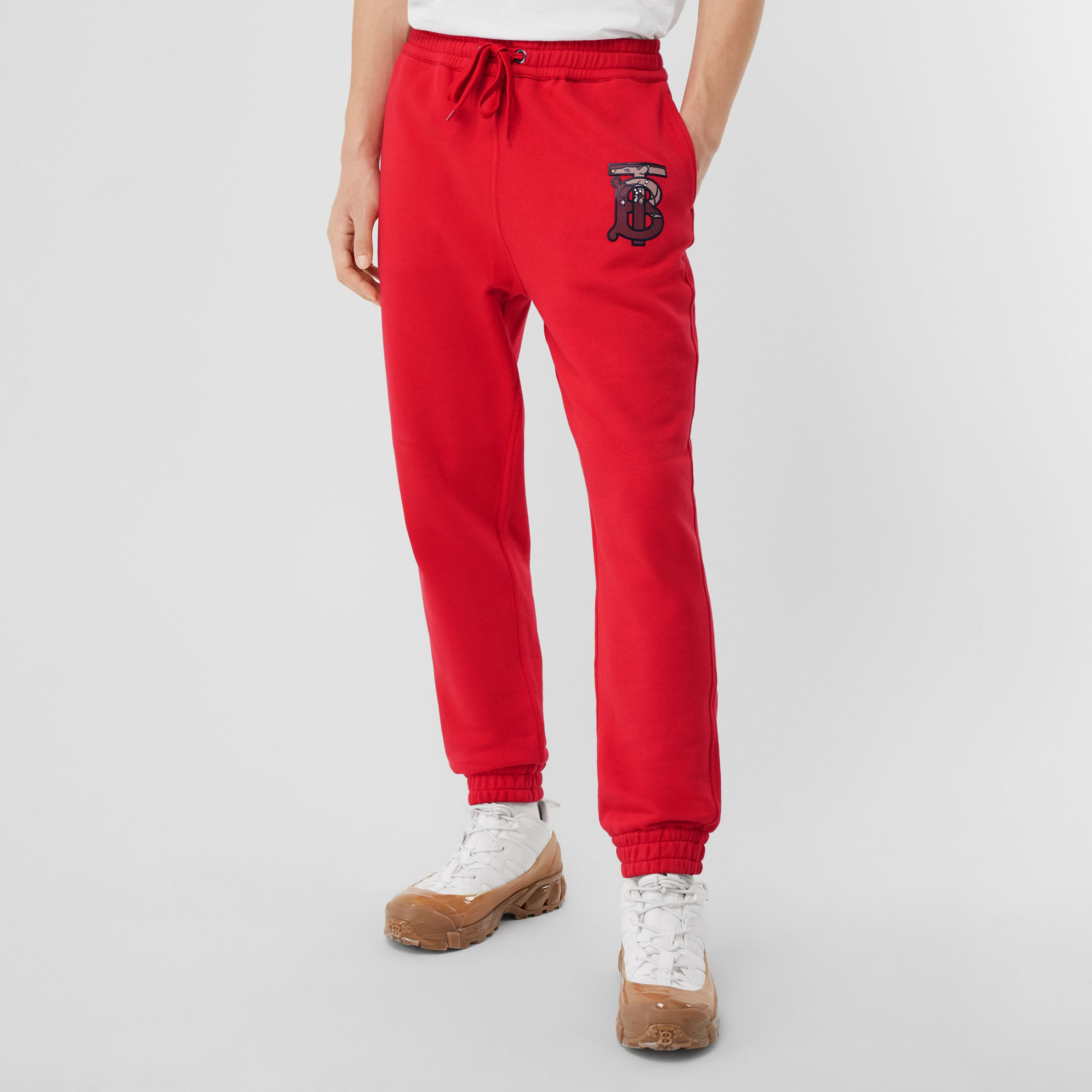 Monogram Motif Cotton Trackpants in Bright Red - Men | Burberry - 4