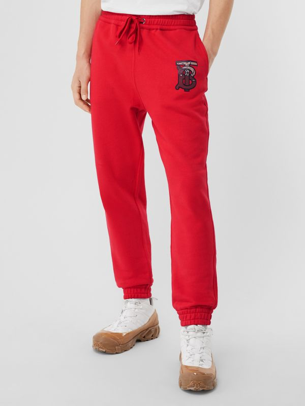 Monogram Motif Cotton Trackpants in Bright Red - Men | Burberry - cell image 3