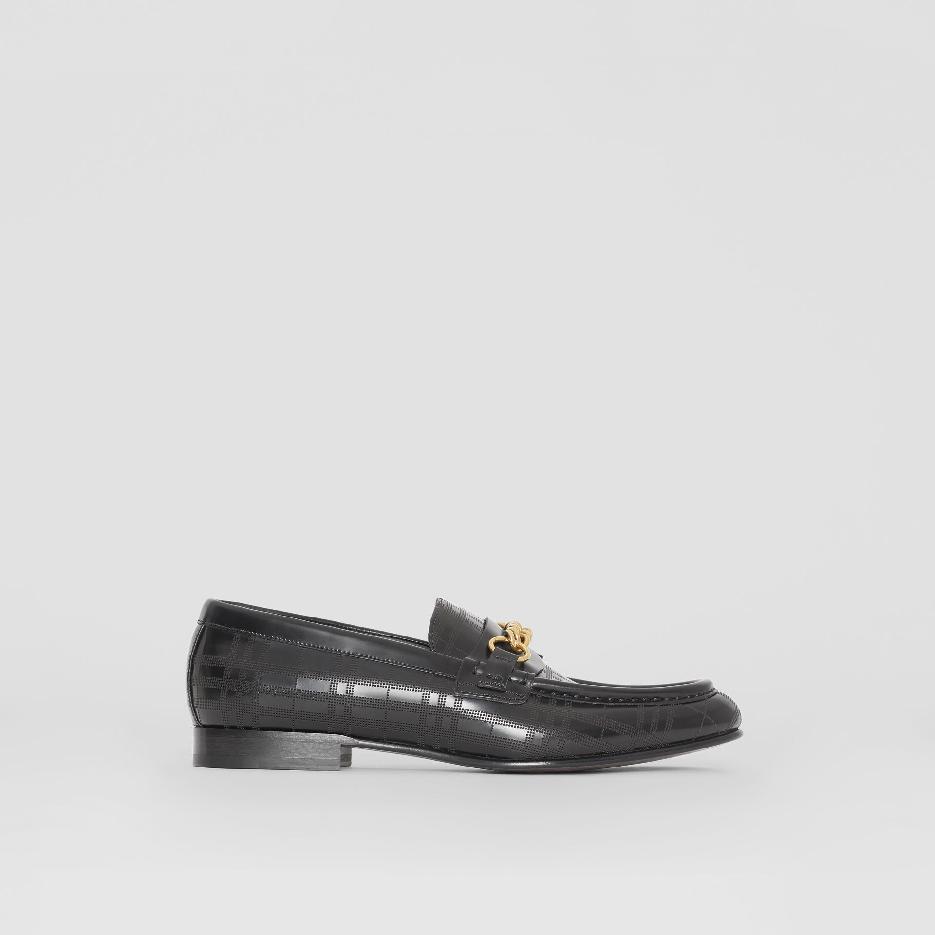 The Perforated Leather Link Loafer in Black - Men | Burberry - gallery image 5