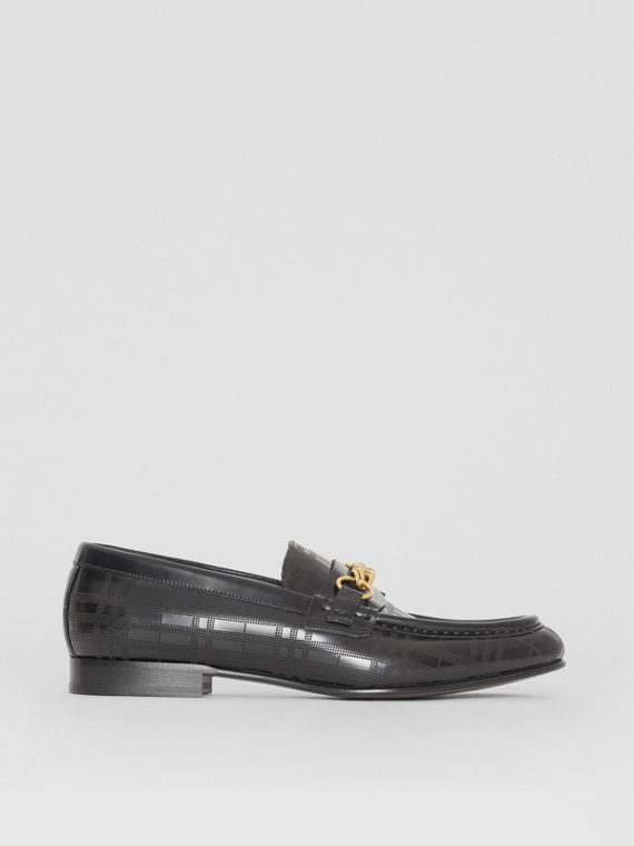 The Perforated Leather Link Loafer in Black