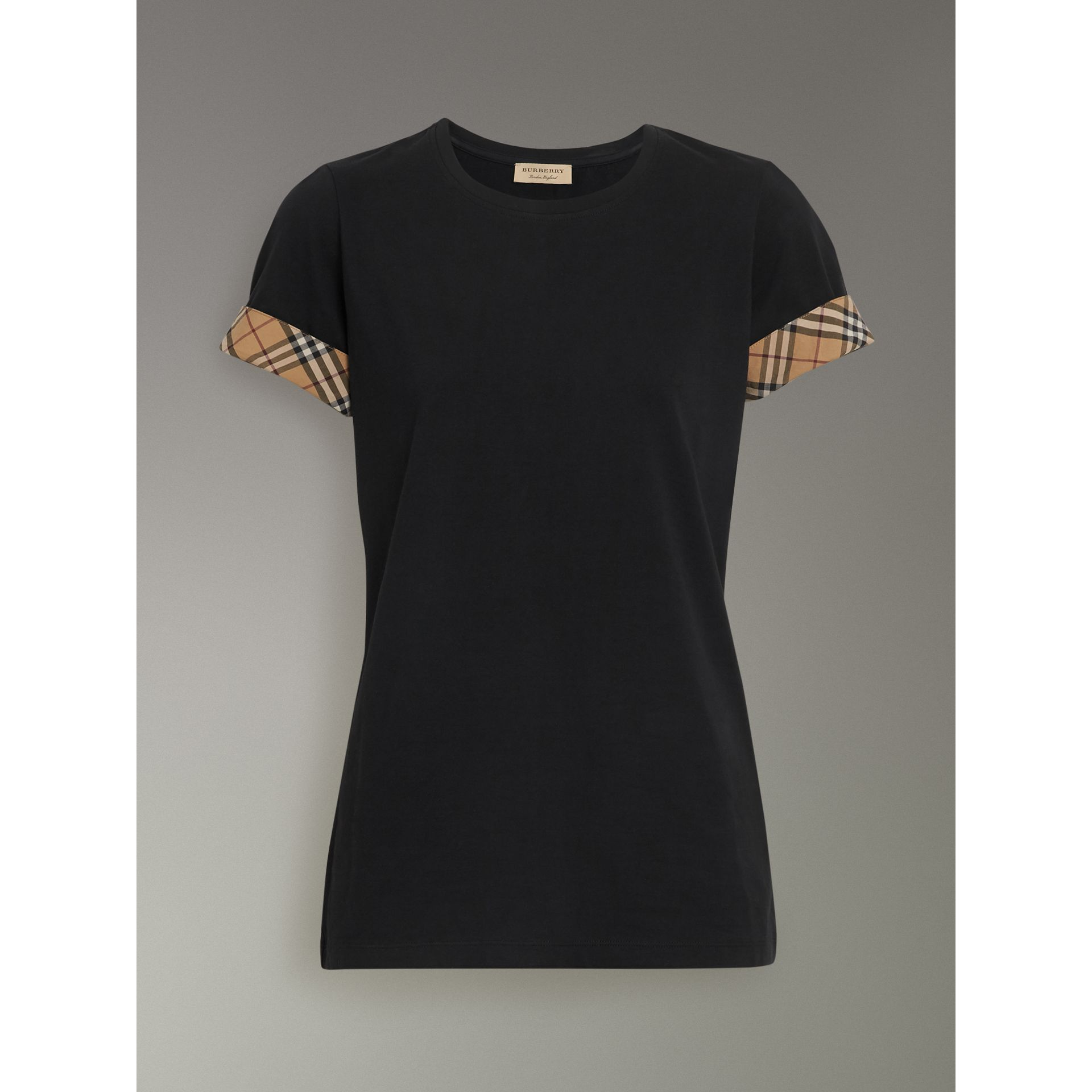 Check Detail Stretch Cotton T-shirt in Black - Women | Burberry - gallery image 3