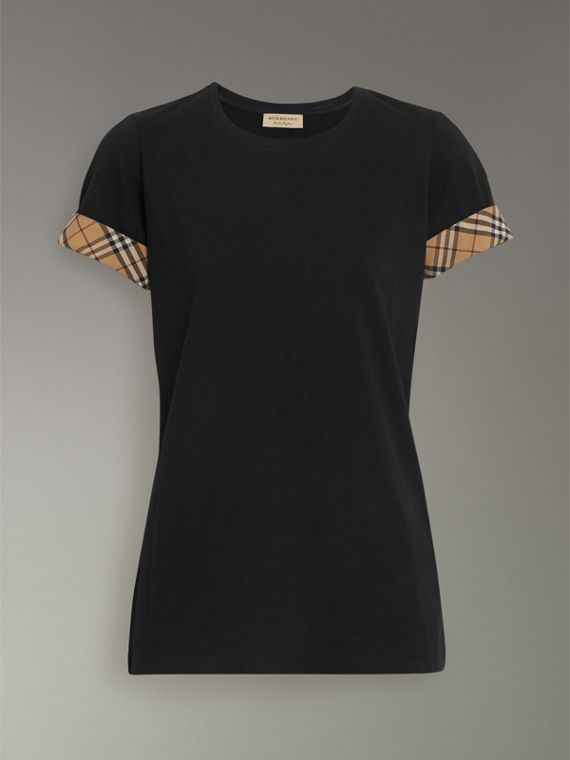 Check Detail Stretch Cotton T-shirt in Black - Women | Burberry - cell image 3
