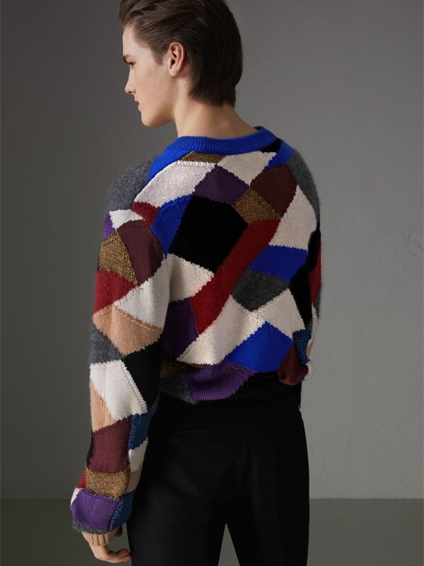 Patchwork Cashmere Wool Blend Sweater in Cobalt Blue - Men | Burberry - cell image 2