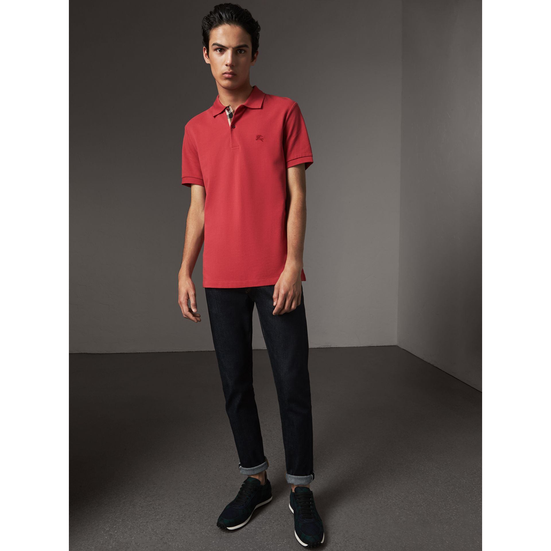 Check Placket Cotton Piqué Polo Shirt in Coral Red - Men | Burberry - gallery image 5