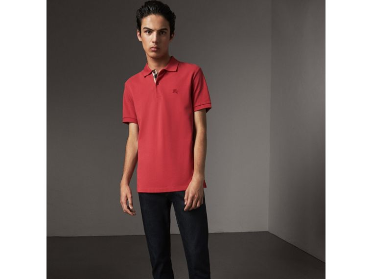 Check Placket Cotton Piqué Polo Shirt in Coral Red - Men | Burberry United Kingdom - cell image 4
