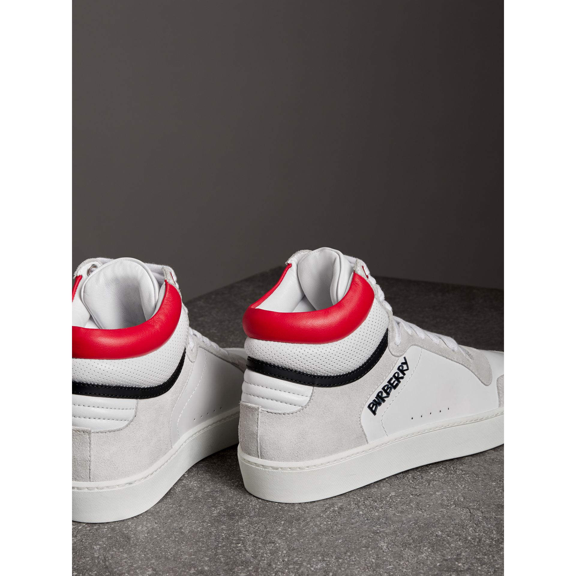 Leather and Suede High-top Sneakers in Optic White/bright Red - Women | Burberry - gallery image 2