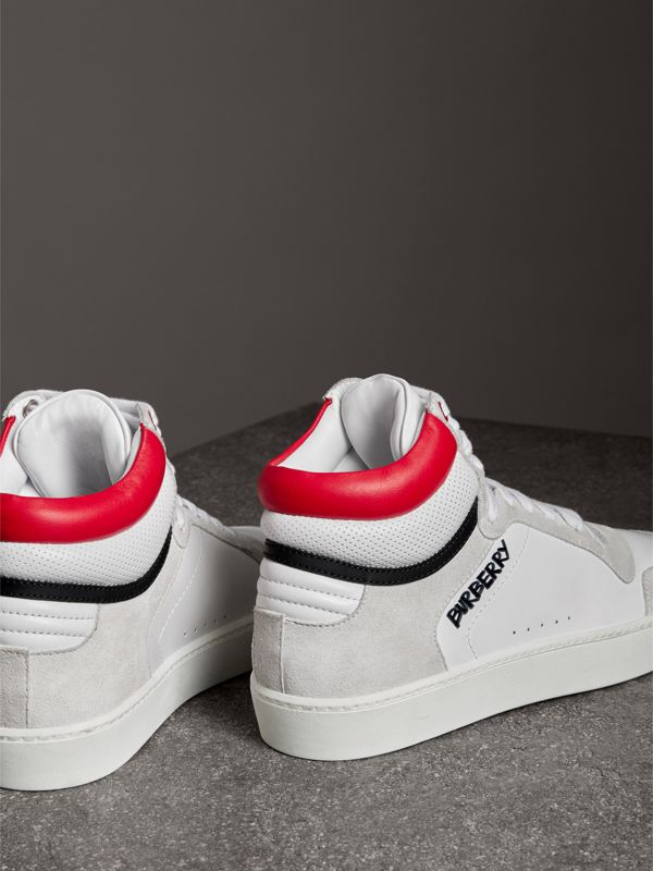 Leather and Suede High-top Sneakers in Optic White/bright Red - Women | Burberry Canada - cell image 2