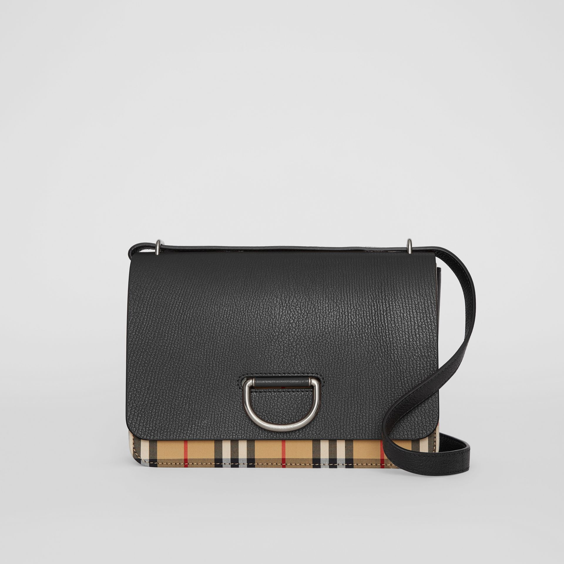 Borsa The D-ring media in pelle con motivo Vintage check (Nero) - Donna | Burberry - immagine della galleria 0