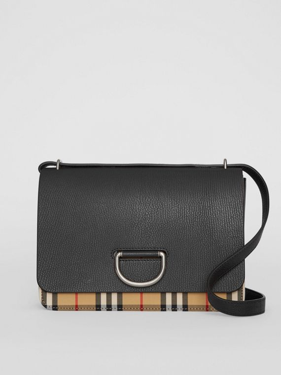 Borsa The D-ring media in pelle con motivo Vintage check (Nero)