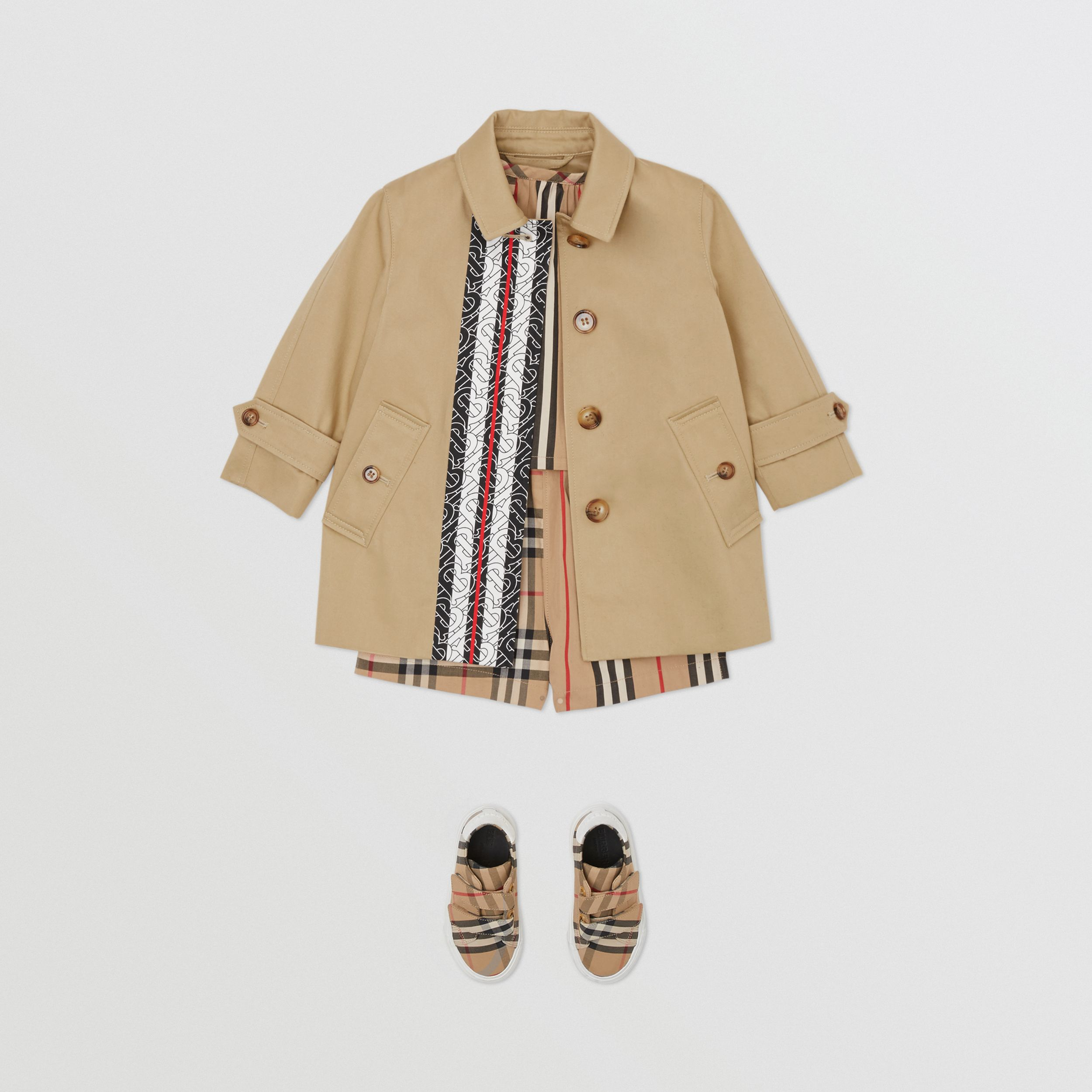 Monogram Stripe Print Cotton Car Coat in Honey - Children | Burberry - 3