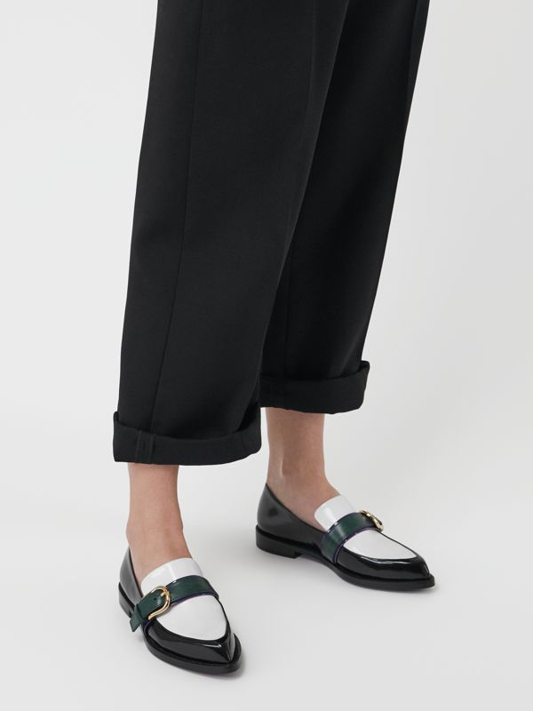 Colour Block Leather Monk Shoes in Black - Women | Burberry United Kingdom - cell image 2