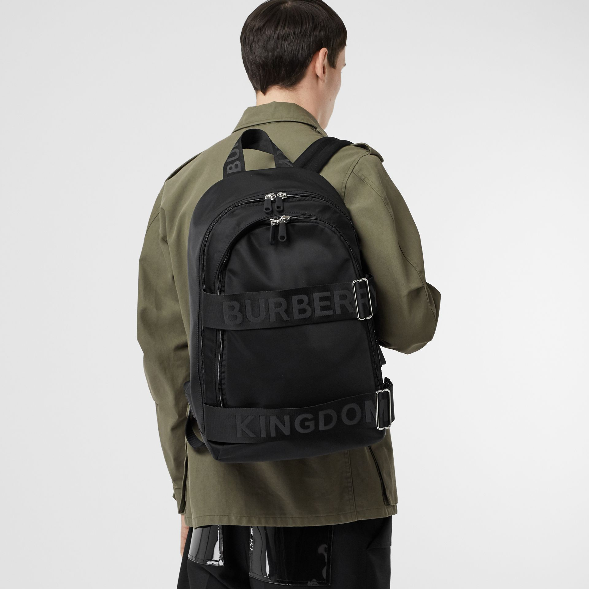 Large Logo Detail Nylon Backpack in Black - Men | Burberry - gallery image 2