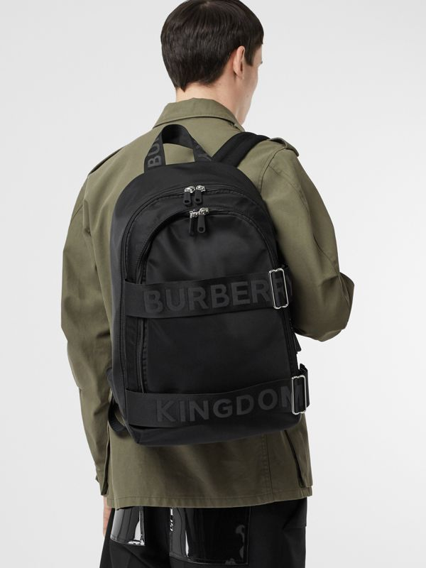 Large Logo Detail Nylon Backpack in Black - Men | Burberry - cell image 2