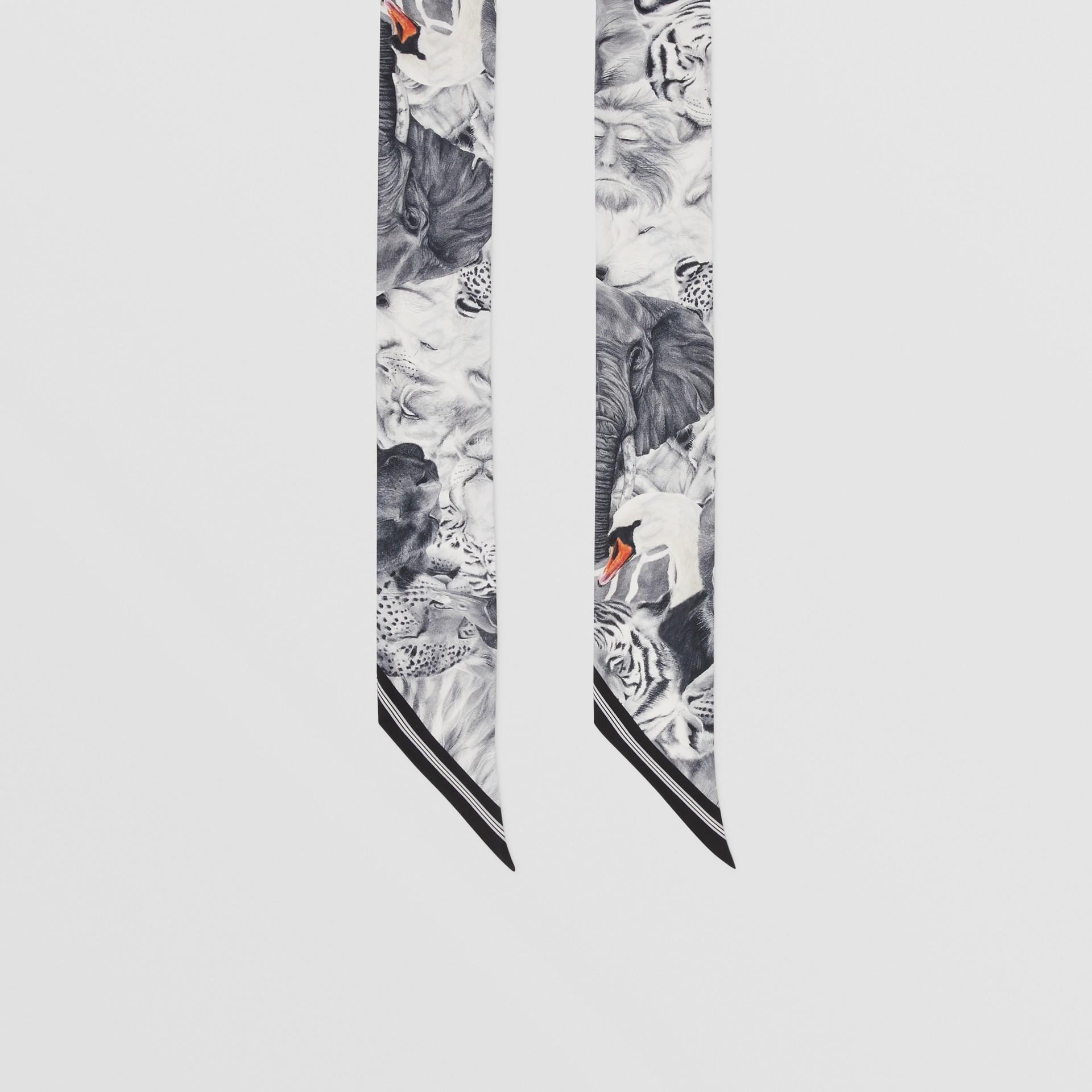 Animalia and Logo Print Silk Skinny Scarf in Vanilla | Burberry United States - gallery image 4