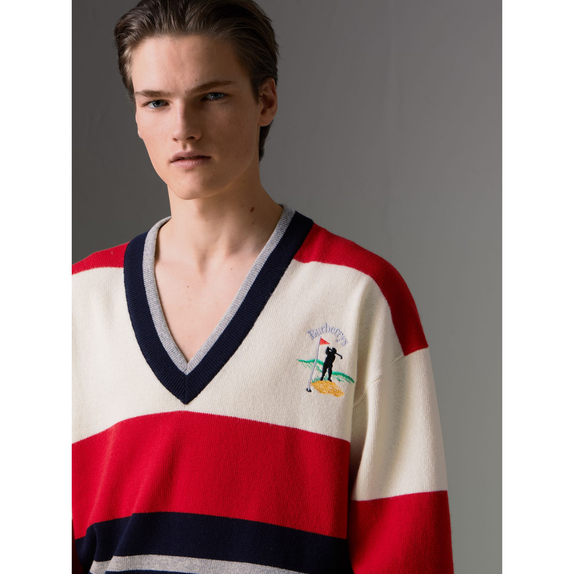 Reissued Striped Lambswool Sweater in Red/white - Men | Burberry Canada - gallery image 1
