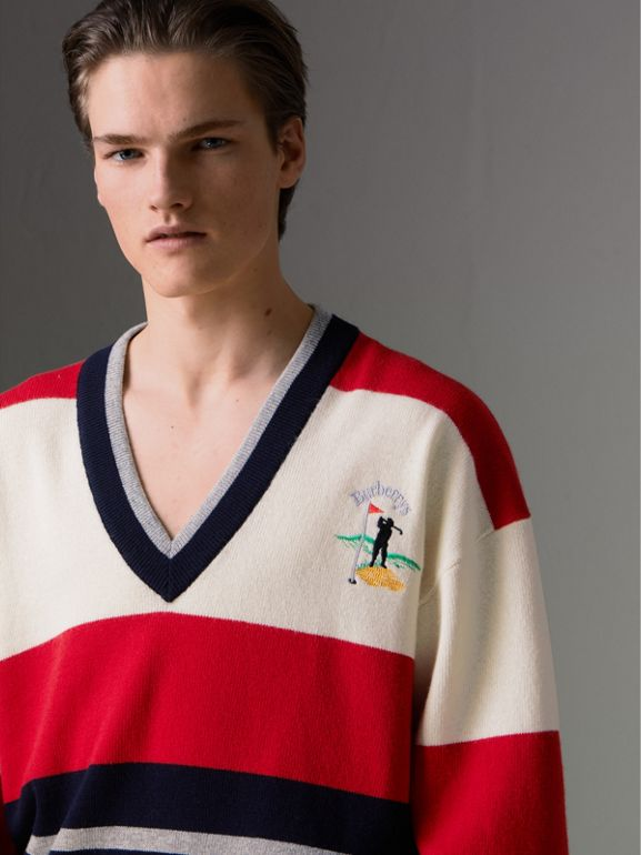 Reissued Striped Lambswool Sweater in Red/white - Men | Burberry Canada - cell image 1