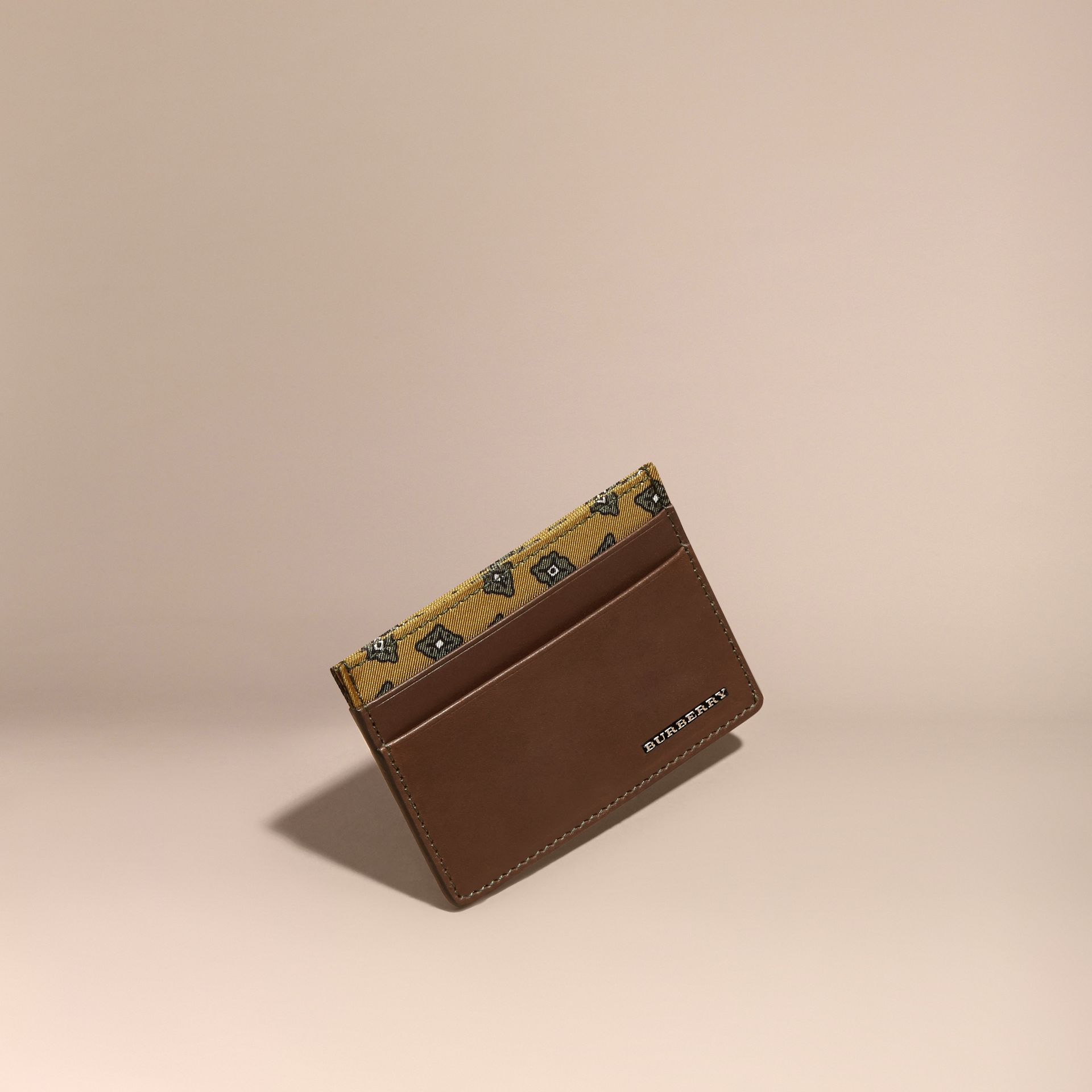 Sepia brown Geometric Tile Print Leather Card Case Sepia Brown - gallery image 1